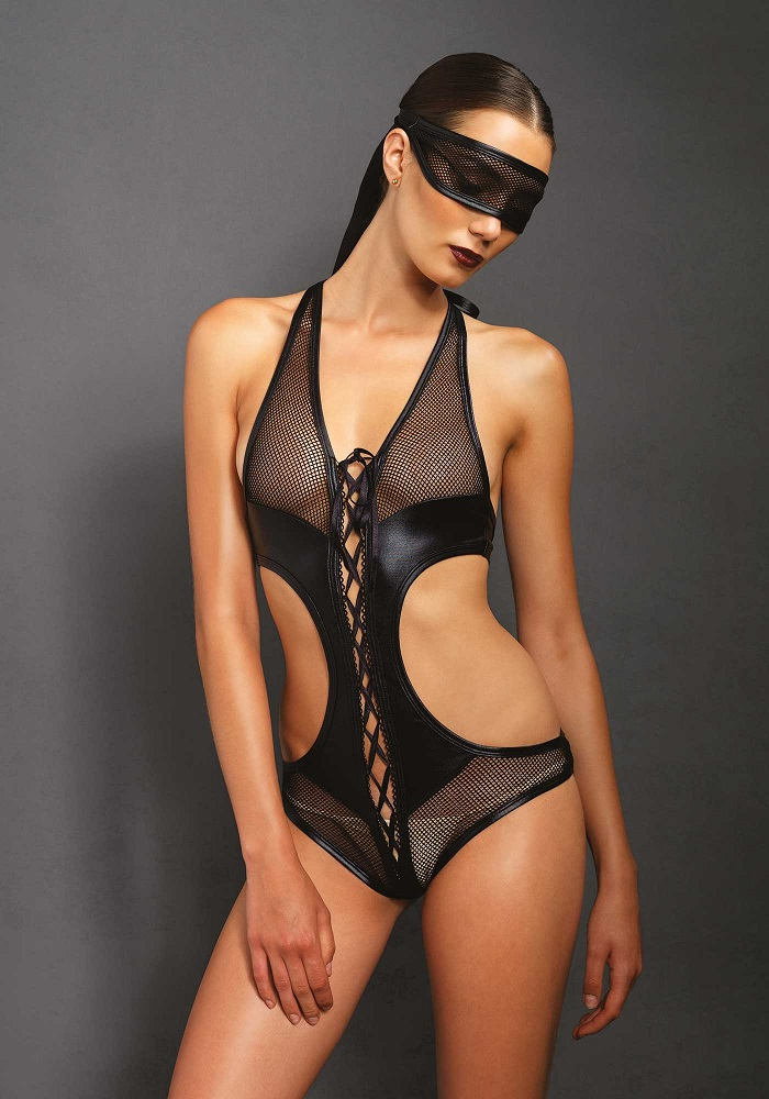 Kink Crotchless Teddy & Eye Mask -Small - Medium