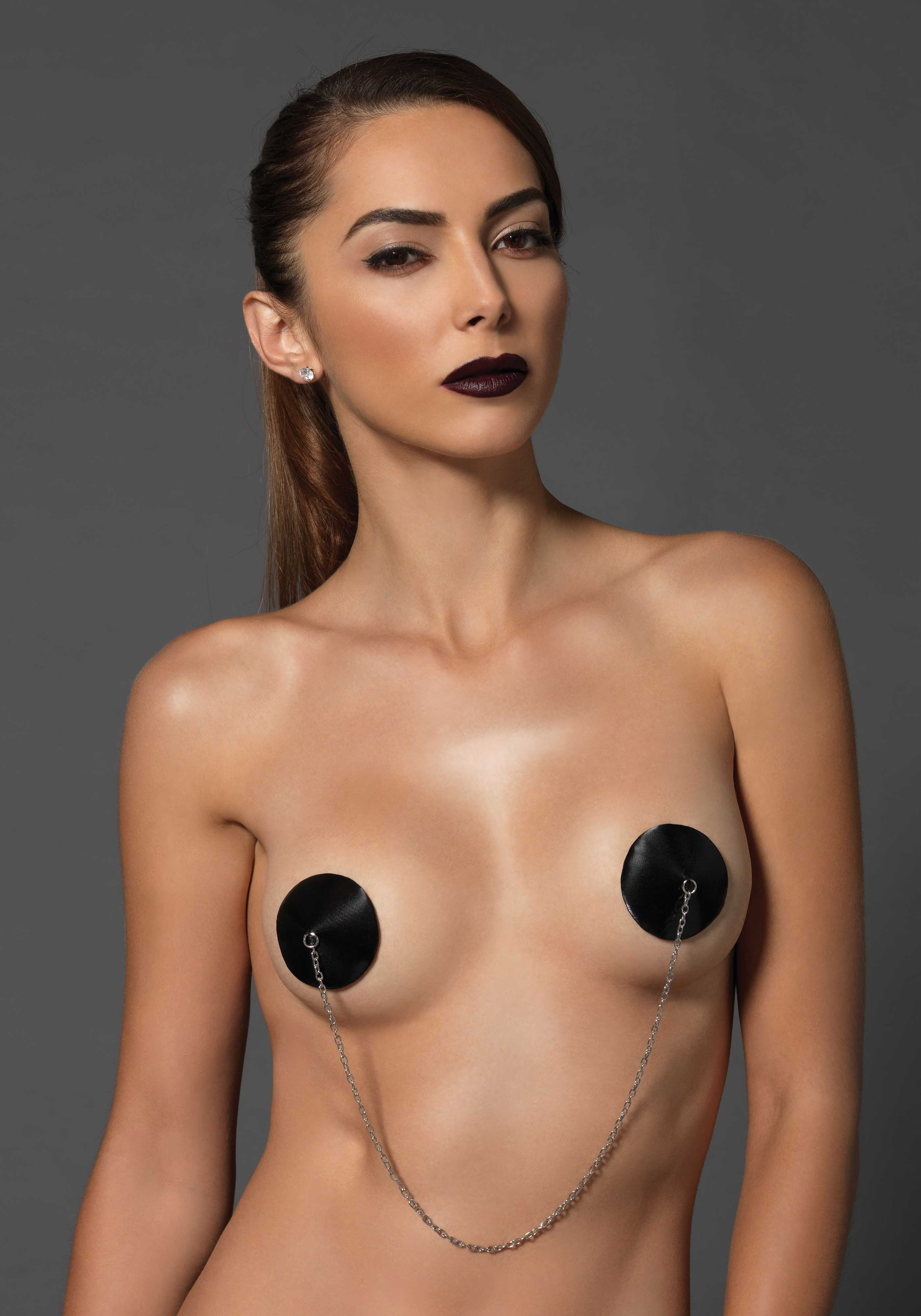 Kink Satin Nipple Covers with Chain
